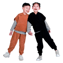 Fashion 3 Piece Corduroy Hooded Striped Kids Clothes Set Sport Toddler Girls Boys Clothing Spring Autumn Children Costume Suit цена