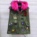 Abajo Chaleco de la Capa Con Capucha de Piel de Ejército Verde Chaleco de Invierno para mujer Chaleco De Carga Parche Insignia Chalecos Femme Negro Mangas de la Piel clothing