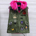 Down Coat Vest With Fur Hood Army Green Vest Winter Womens Cargo Vest Badge Patch Chalecos Black Fur  Sleeveless Femme Clothing