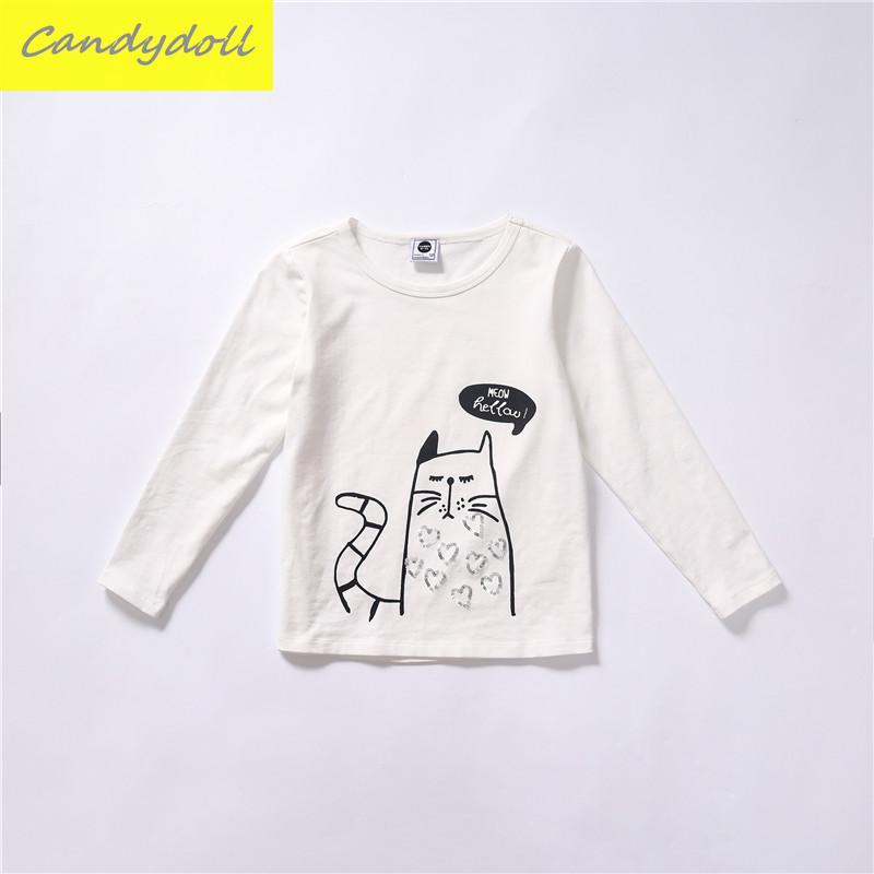 ФОТО New arrival Spring/Fall Girl T-shirt Children's T-shirt Carton Style Girl T-shirt Long Sleeve Kids T-shirt 5-10Y