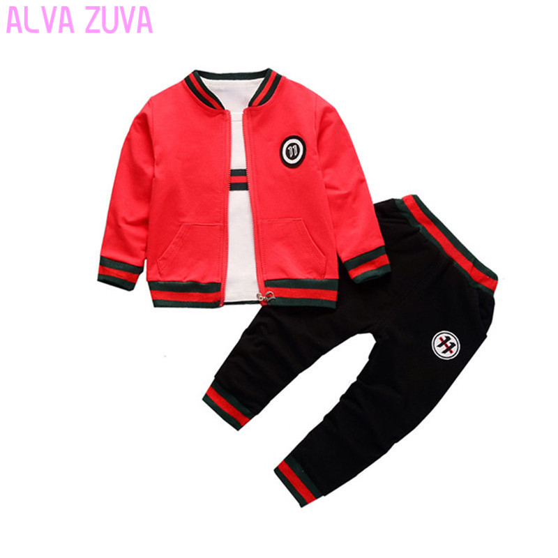 ALVA ZUVA New Spring Children Tracksuit Toddler Baby Boys Girls Coat+ T-Shirts+Pants 3 Pieces Suit Kids Clothes Sets Cyf058 2018 new spring autumn 3 10 yrs baby girls dress clothing sets lace collar t shirts girl dress 2 pieces sets korean kids clothes