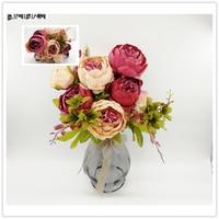 LIN CZŁOWIEK Kwiaty Ślubne Bukiet Ślubny 9 Kolor akcesoria ślubne bukiet Piwonii Sztuczne bukiety Kwiatów na Ślub