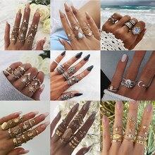 Novo vintage knuckle anel para mulher boho 20/conjunto de pedra cristal animais plantas figuras geométricas anéis conjuntos moda feminina jóias