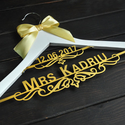 personalized Wedding Hanger with Date Bridal Bride Hanger  Custom dress hanger
