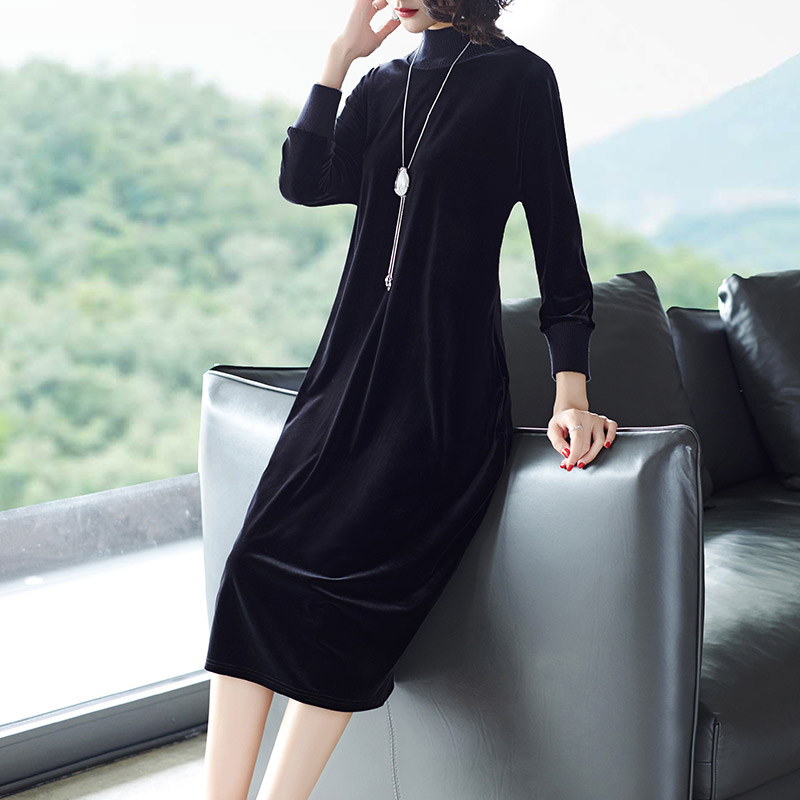Plus Size Autumn Winter Elegant Party Women Dress Long Sleeve Black Velvet Dress Vintage Casual Loose Midi Dress Female Vestidos