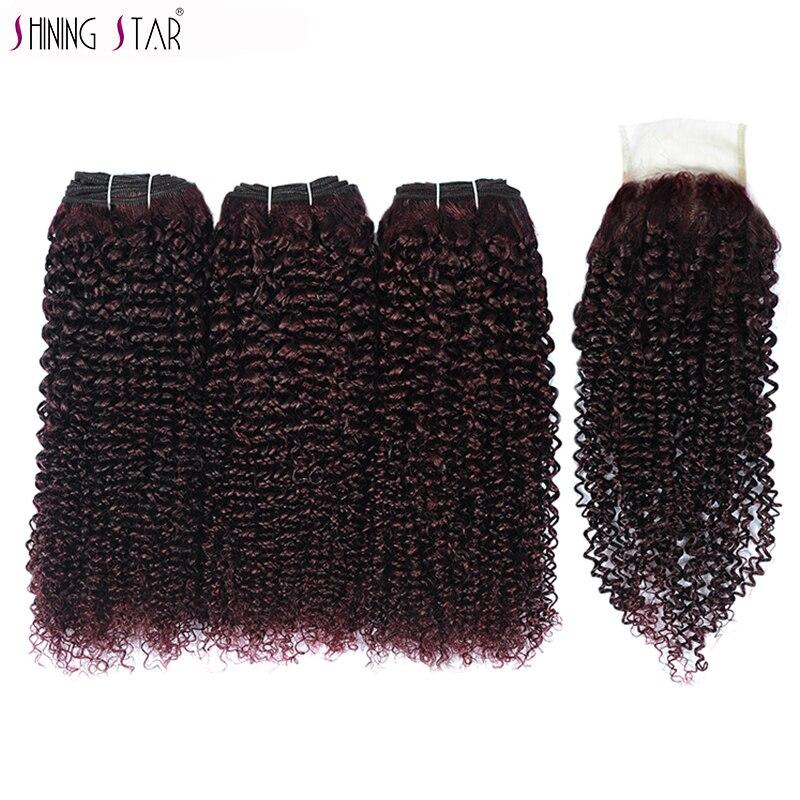 Dark Purple Red Brazilian Kinky Curly 3 Bundles With Closure Colored Human Hair Burgundy Bundle With