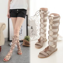 Female Sandals Summer Roman Zippers Sexy Toe Long Tube Female Sandals Flat With Straps Hollow High Tube Flat Women's Cool Boots