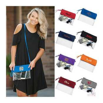Monogrammed Clear Stadium Bag 100pcs/lot Clear Tote Football Bag Concert Clear Pouch Wholesale - DISCOUNT ITEM  29% OFF All Category