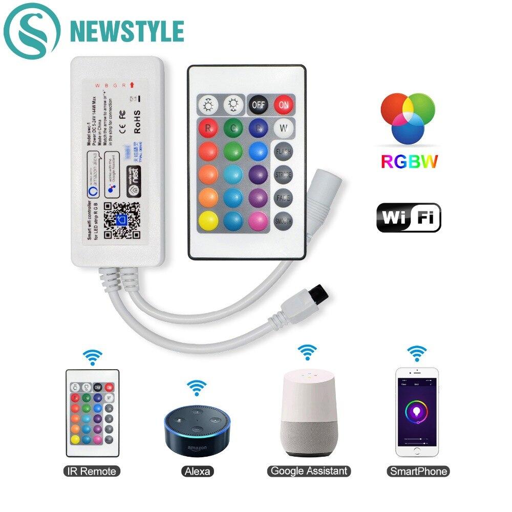 WI-FI RGBW Tira CONDUZIDA Controlador Música Temporizador Controlador de Controle de APLICATIVO de Smartphone Amazon Alexa Inicial do Google Voice Control DC5V-24V