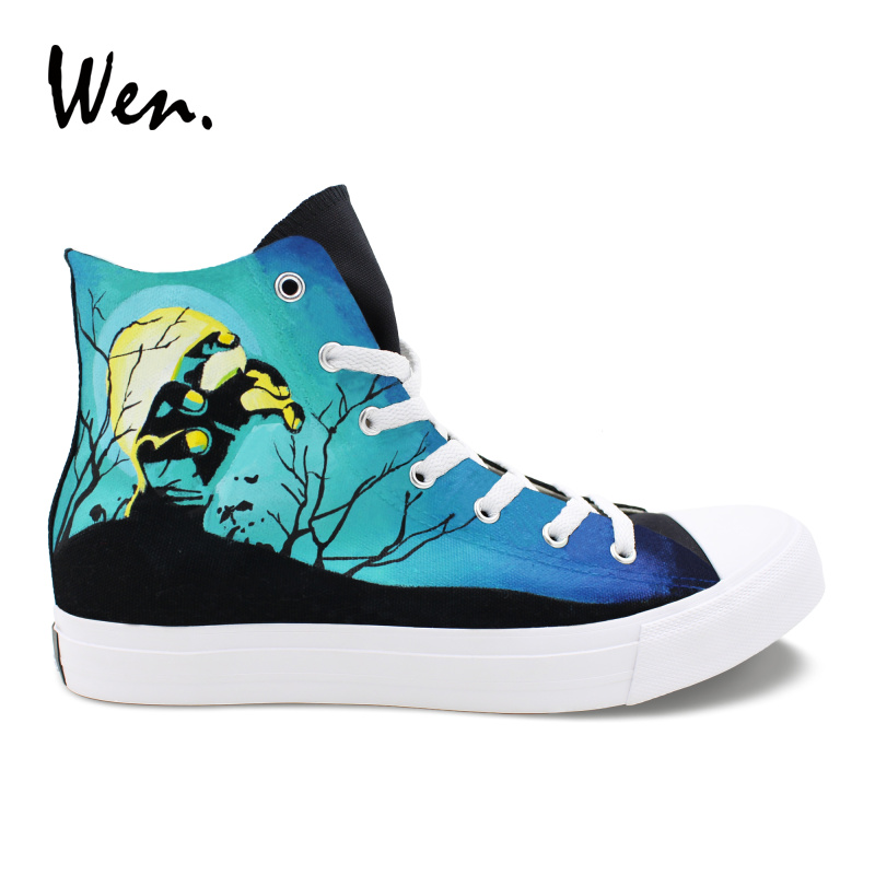 Wen High Top Black Canvas Shoes Hand Painted Design Walking Dead Casual Sneakers Unisex Graffiti Shoes Fashion wen graffiti hand painted shoes design colorful leopard pattern high top canvas shoes unisex black sneakers casual plimsolls