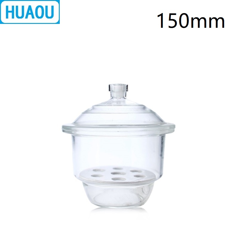 HUAOU 150mm Desiccator With Porcelain Plate Clear Glass Laboratory Drying Equipment