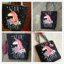 Women's Colorful Unicorn Printed Tote Bag