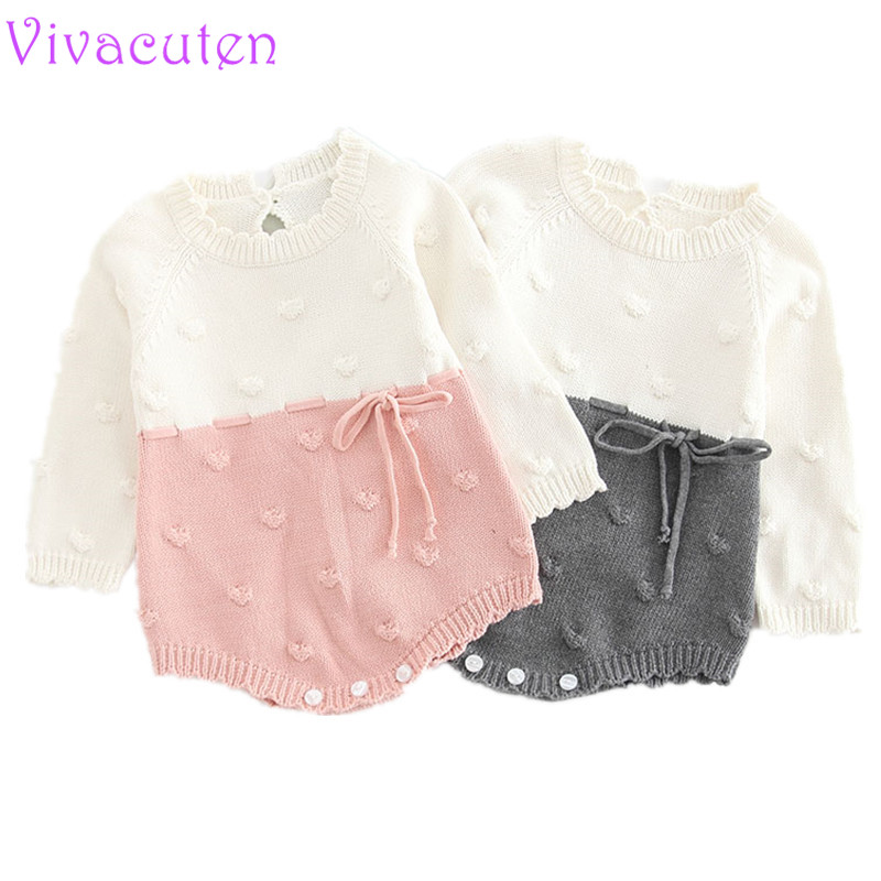 Autumn Baby Knitted Rompers Sweater Baby Girl Long-sleeve Kn