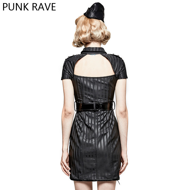 Mode Militaire Gestreepte PU Uniform Casual jurken Gothic Punk Vrouwen Nieuwigheid Halloween Kerst Jurk PUNK RAVE Q 305 - 4