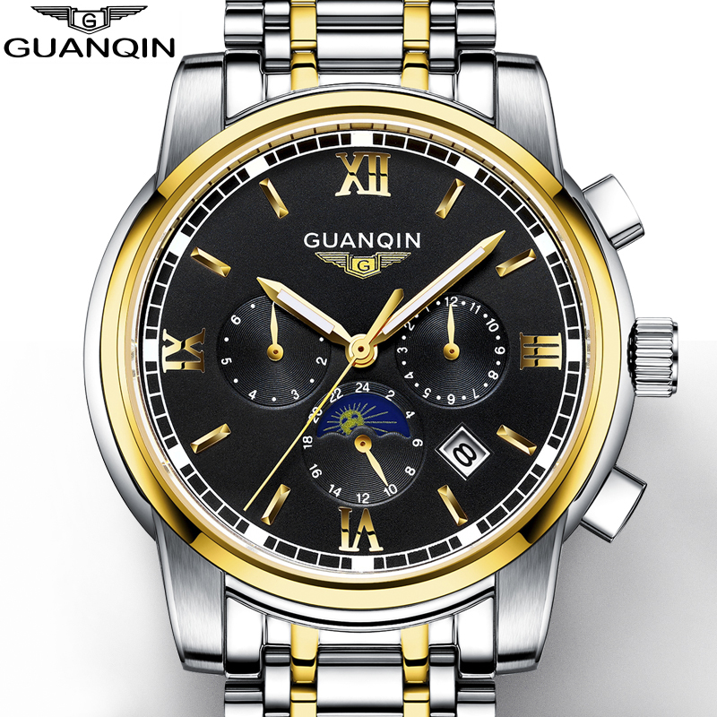 NEW Men's Watch GUANQIN Mens Watches Top Brand Luxury Watch Men With Moon Phase Date Month Week Luminous 24 Hours Display high grade moon phase auto date week month day night watch men luxury brand automatic jargar montre gift box
