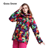 Gsou Snow Women Ski Jacket Waterproof Windproof Ski Wear Skiing Jacket Female Breathable Warm Snowboard Sport