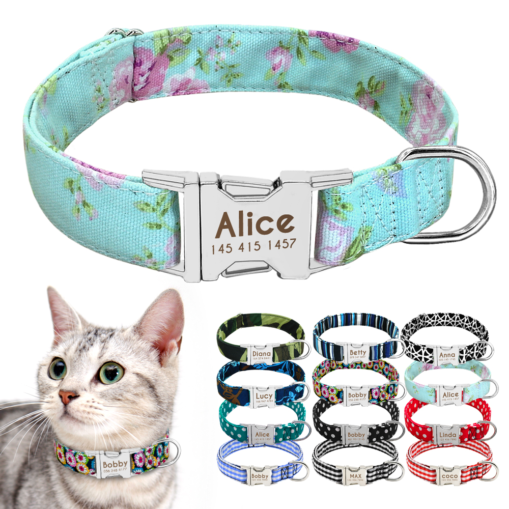 Cat Collar Personalized Nylon Custom Cats ID Tag Collar Engraved Nameplate Pet Small Dogs Puppy Collar S M Pet Supplies