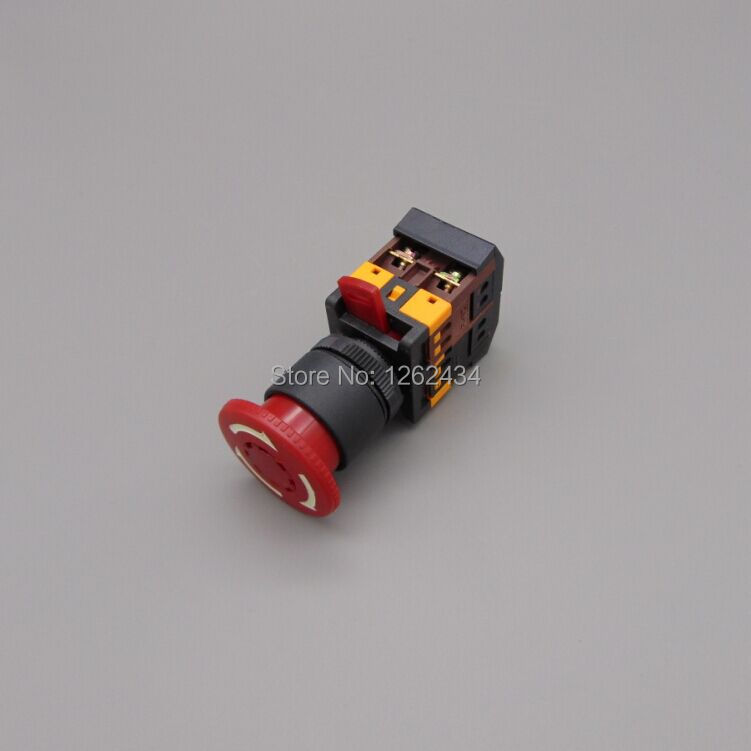Mushroom head button switch ANE-22with light LED emergency stop button(Mounting hole 22 25mm)(DC 6/12/24/36/48 V AC110/220/380V) red sign mushroom push button emergency stop switch twist release 22mm 1 no 1 nc lay38