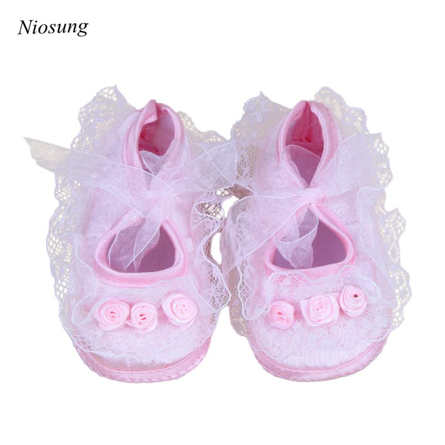 Niosung Lovely Toddler Baby Pre-Walker Shoes Rose Flowers Newborn Baby Shoes Soft Princess Baby Shoes White&Pink v
