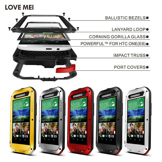 LOVE MEI Aluminum Metal Case For HTC One E8 Powerful Shockproof Waterproof Dirtproof Armored Cover For HTC E8 With Gorilla Glass