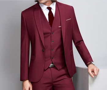 Newest One Button Wine Groom Tuxedos Notch Lapel Groomsmen Mens Wedding Prom Suits (Jacket+Pants+Vest+Tie) NO:143