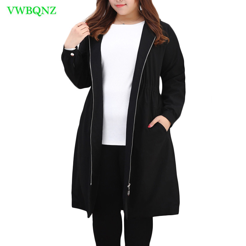 Extra Large Women Windbreaker coat Spring Autumn Loose Long High quality   Trench   coats Women's Black Hooded Overcoat 10XL A212