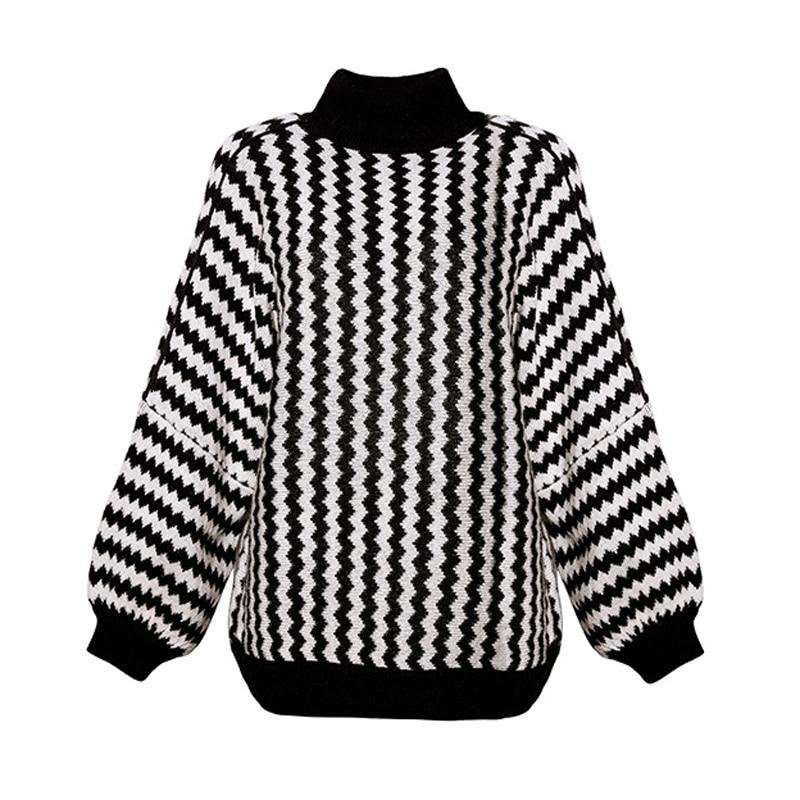 Tricoté Col Noir Femme Mode Automne Rayé Manches Pulls Hiver Roulé Longues Chandail Élastique 2019 K243 Lâche À Femmes wCIUp1Pq