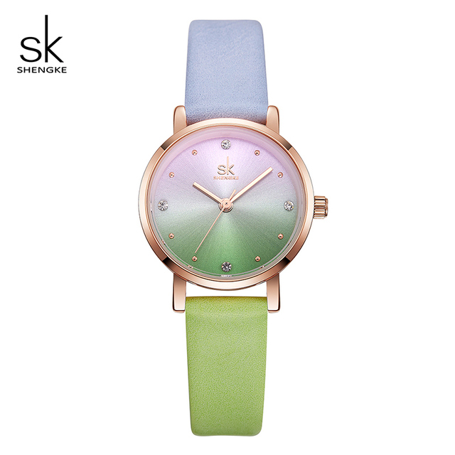 Shengke Creative Color Women Leather Watches Ladies Quartz Watch Relogio Feminin