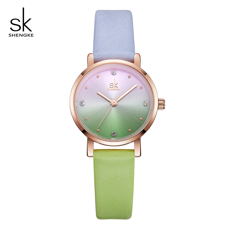 Shengke Creative Hit Color Women Leather Watches Female Wrist Watch Women Ladies Quartz Watch 2018 New Relogio Feminino #K8029 shengke watch for women female luxury quartz wrist watch ladies leather women watches girls dress wristwatch relogio feminino sk