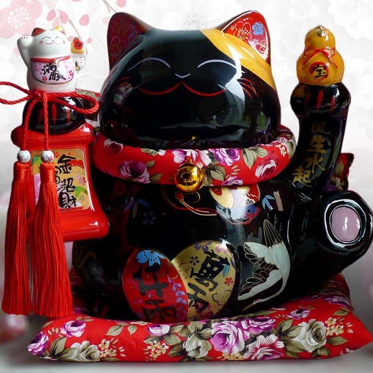 Zwart Manekineko Keramische Lucky Cat met Luit Home Decor Ornamenten Creatieve Relatiegeschenken Fortuin Kat Spaarpot Fengshui Craft-in Figuren & Miniaturen van Huis & Tuin op  Groep 1