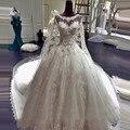 New Luxury Princess Wedding Dresses 2017 Ball Gown Scoop Neck Beads Tulle Chapel Train Bridal Gowns Vestido de noiva