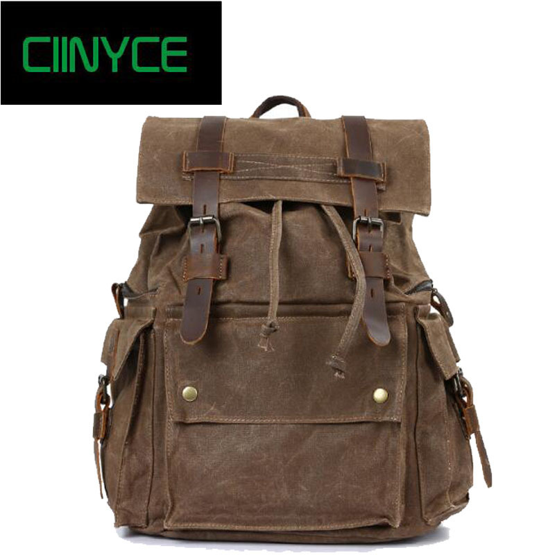 High Quality Vintage Waterproof Wax Canvas Travel Backpack For Man Large Capacity Knapsack Holiday Men Rucksacks Riding Pack Bag