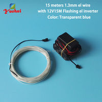 1.3mm 15Meter Electroluminescent wire Flexible Neon glowing Light Tube Rope Powered by DC12V inverter For Party Decoration