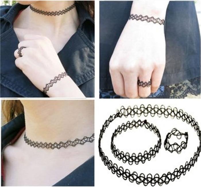 Durable 2016 New Fashion Women Collares Necklaces Black Retro Henna Vintage Elastic Tattoo Choker Stretch Free Shipping (3)