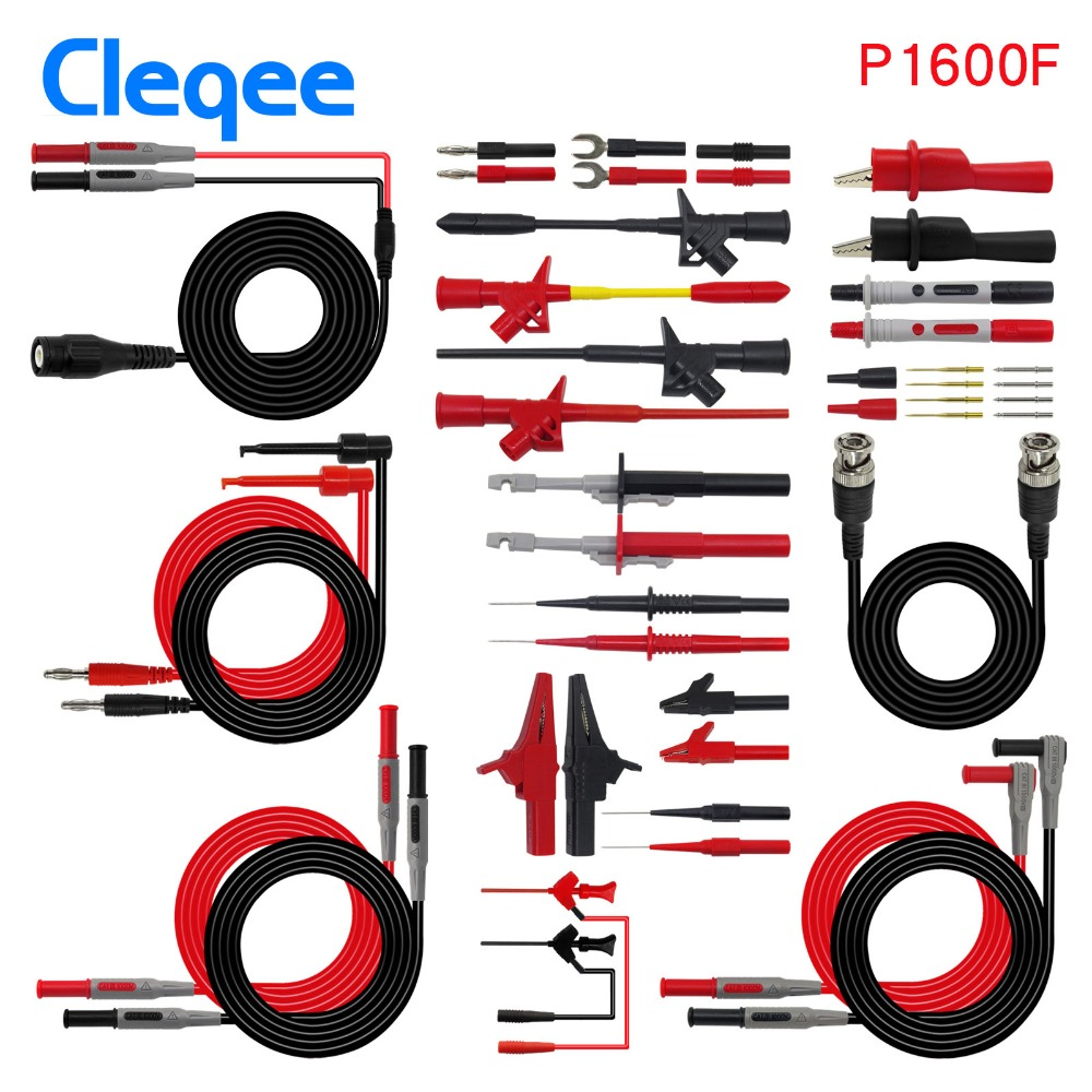 Cleqee P1600E/F 18 in 1 Pluggable Multimeter probe test leads kit automotive probe set IC Test hook Fluke BNC-Test cable tchernov cable special mk2 ic 1 00m