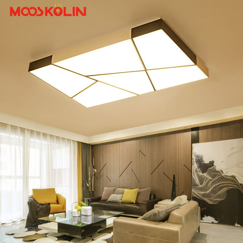 Rectangle Iron Modern Led ceiling lights for living dining room bedroom Hotel AC85-265V White and Black Ceiling Lamp Fixtures