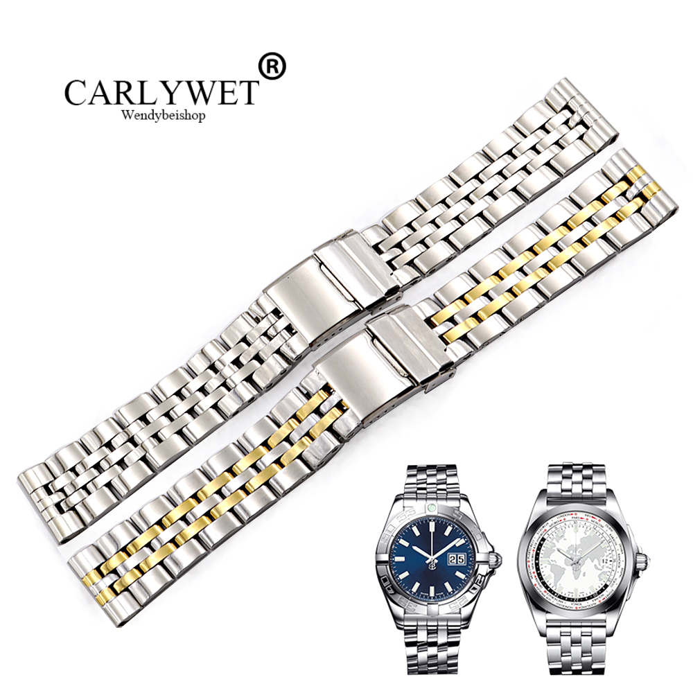 CARLYWET 22 24mm Silver Two Tone Gold Steel REPLACEMENT Wrist Watch Band For AEROSPACE PANERAI Omega