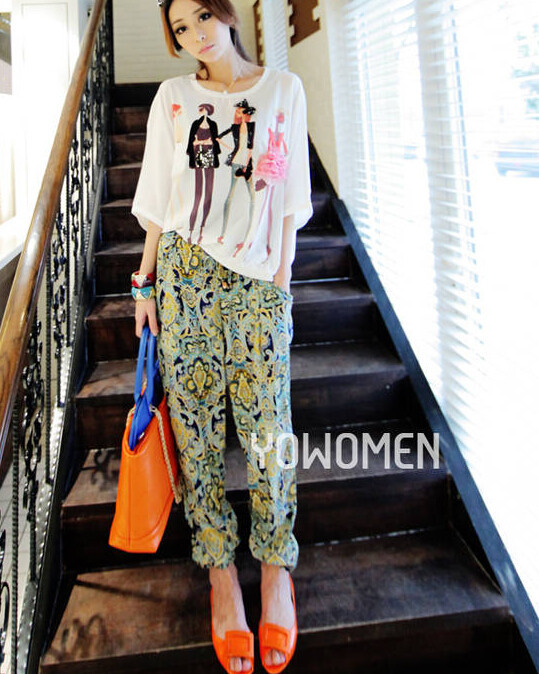 50pcs/lot fedex fast free shipping Bohemia national trend bloomers harem pants casual pants wide leg pants female beach pants