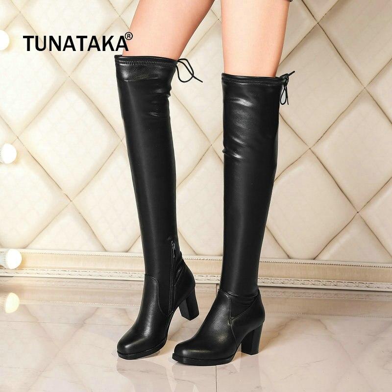 где купить Genuine Leather Square High Heel Zipper Woman Over The Knee Boots Fashion Lace Up Winter Thigh Boots Ladies Black по лучшей цене