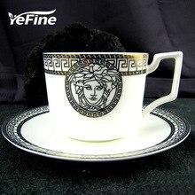 YeFine Moda de China de Hueso Tazas Y Platillos de Café Té Negro Accesorios de Cocina de Alta Calidad de la Taza de Cerámica Con La Bandeja Continer