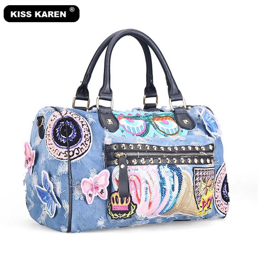KISS KAREN Butterfly Broderi Mode Denim Kvinnor Väska Lady Handväskor Jeans Tygväska Rivet Kvinnors Axelväskor Tillfälliga Totes