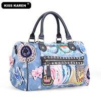 KISS KAREN Butterfly Embroidery Fashion Denim Women Bag Lady Handbags Jeans Tote Bag Rivet Women's Shoulder Bags Casual Totes
