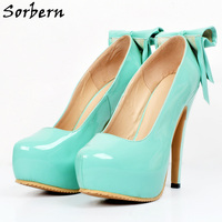 Sorbern Mint Green Shoes Slip On Bowknot Pump High Heels Platform Shoes Women Runway Shoes Plus Size 34 46 Custom Green Heels