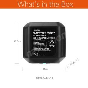 Image 2 - Godox WB87 סוללות 11.1V 8700mAh עבור AD600 AD600BM AD600B SLB60W TTL 2.4G X מערכת כל  ב אחד חזק חיצוני פלאש