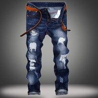 EVJSUSE originali jeans di marca degli uomini foro dritto jeans Slim personalità moustache effetto Progettista Degli Uomini Distrutto Jeans Strappati