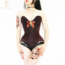 Annzley Steel Boned Overbust Corset Side Zipper Black Lace Sweetheart Corset Top