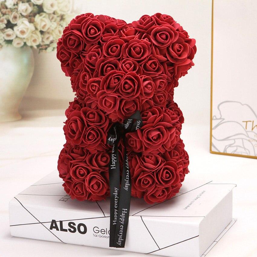 Горячая Распродажа, подарок на день Святого Валентина, 25 см, красная роза, плюшевый мишка, цветок розы, искусственное украшение, рождественские подарки для женщин, подарок на день Святого Валентина - Цвет: Red wine 25cm No Box