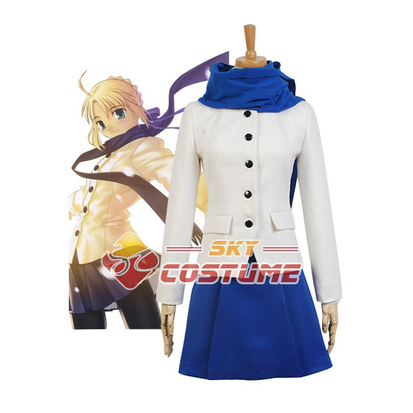 Fate/stay night Saber King Arthur Arturia Daily life Outfit Cosplay Costume Coat OutWear Dress Jacket Full Set Free Shipping