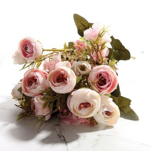 Artificial Tea Rose European Style 6 Autumn Colors Silk Fake Flower Bouquet Wedding Decoration for Home Hotel Decor 1 Branches