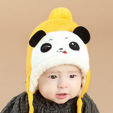 Baby Hats 2018 New Arrival Autumn Winter Newborn Cut Bear Velvet Bomber Hats for Girls Boys Toddler Infant Warm Knitted Cap(China)